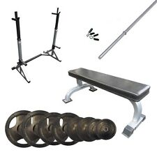 Package Deal 18 - Adjustable squat rack, Flat bench and 77kg Barbell Set