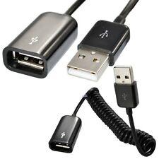 1.5M en espiral USB 2.0 A macho a hembra Cable de extensión de datos de resorte de enchufe