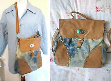 LADIES JEANS DENIM TIE DYE HANDBAG STUDS CROSS BODY BAG HOBO SATCHEL WORK SCHOOL