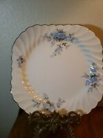 "Vintage Johnson Brothers Snow White Regency Square Salad Plate 8 1/4"" Blue Roses"