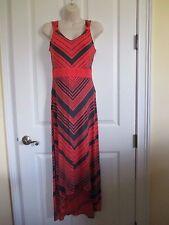 NWT-APT. 9 sleeveless V-neck Stretch Maxi Dress - sz PXL - MSRP $50.-Coral/Gray