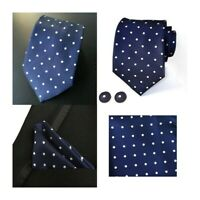 Tie Pocket Square Cufflinks Polka Dot Navy Blue and White Handmade 100% Silk