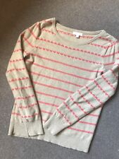 Monsoon Fine Knit Jumper Beige Pink Hearts Size M angora mix