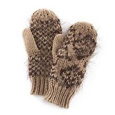 Women's Madden Girl Fringed Tribal Pattern Mittens Brown MG32007 One Sz FREE S&H