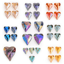 5pcs 22x18mm Charms Faceted Glass Crystal Heart Spacer Loose Beads DIY Jewelry