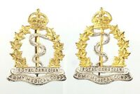 Vintage Pair Collar Badge Set Royal Canadian Army Medical Corps RCAMC WWII T746