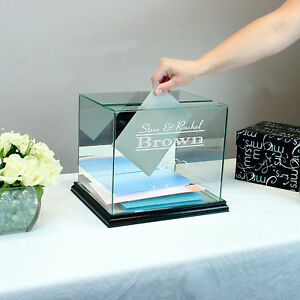 Personalized Wedding Card Box Rectangle - Card Holder - Free Engraving