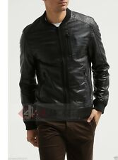 New Men's Lambskin Leather Bomber Biker Jacket