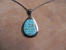 "Turquoise Inlay Sterling Silver Pendant & Sterling Silver Necklace 16"" Navajo"