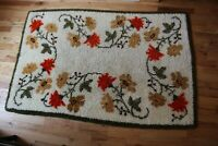 "Rug Hand Made Hooked Floral Flowers vines rectangle 36"" x 56"" Vintage Shag"