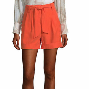 Worthington Women's High Rise Midi Shorts Size 10 Cyber Orange Belted New 4.5""