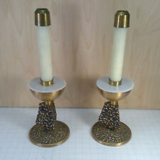 Vintage MID CENTURY Brass Bronze ALTAR CANDLE Stick Holder PAIR w/ Followers
