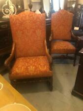 Pair of Antique High Back Carved French Calver Chairs with Fabric