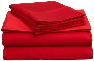 Top Class 1000TC EgyptianCotton Red Solid Queen SheetSet/DuvetSet/Fitted/Flat