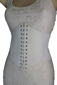 Sexy Women White Belt Extra Wide Corset Tie High Waist Slimming Faux Leather M L