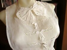 Vintage Pierced Collar Dicky Dickie White Steam Punk French Linen Victorian Bow