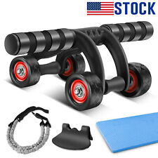 2020 New Four Wheel Ab Roller Knee Pad Home Gym Abdominal Fitness Core Exercise