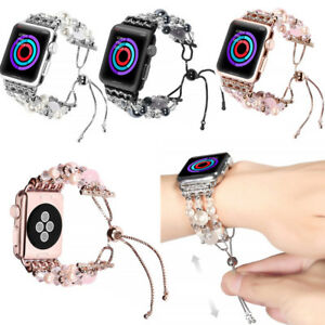 Bling Faux Pearl Bead Bracelet Band Adjustable Strap Watchband For Apple Watch