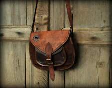Women's Real Vintage Looking Brown Leather Messenger Cross Body Handmade Purse