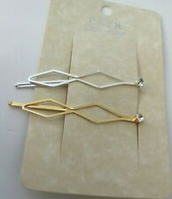 Nordstrom CARA Bridal Hair Clip Set of 2 Headpiece Silver Gold Jeweled $24 NEW