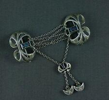 Jugendstil Silver Brooch Pin Slide Cape Cloak Clasp Pforzheim Art Nouveau