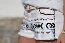 ZARA ethnique aztèque brodé Short Taille UK10 EUR38 US6 ref 6840 054