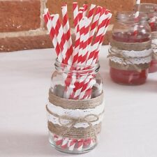 25 PAPER DRINKING STRAWS White Red Candy Stripe JUST MY TYPE Vintage Retro