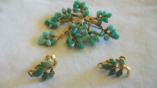 "VINTAGE 'HOBE"" RARE SET SCREWBACK AVENTURINE EARRINGS AND BROOCH"