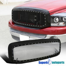 2006-2008 Dodge Ram 1500 2500 3500 ABS Rivet Black SS Wire Mesh Grille + Shell