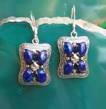 Pendiente Cuadrado Estilo Lapislázuli Azul Piedra d Amistad PLATA 925