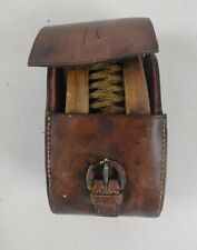 Vintage Military Horse Brush Set of Two in Leather Case Marked Oxford