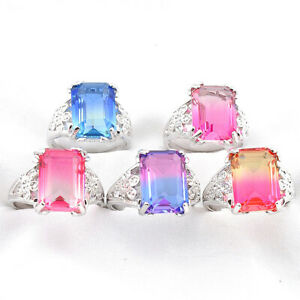 Gift 5PCS Square Fire Rainbow Bi-Colored Tourmaline Gems Silver Rings Size 7 8 9