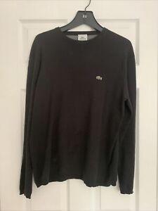 Lacoste Mens Black Crew Neck Sweater Sz 5 100% Cotton Pullover