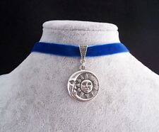 Tibetan Silver Sun & Moon Eclipse Pendant Blue Velvet Choker Necklace.Handmade
