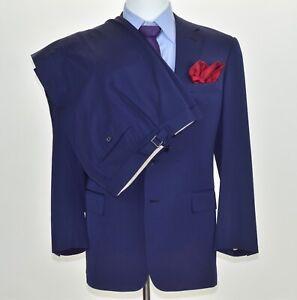 Purple Label Ralph Lauren 2 Pc Blue Mens Suit Jacket 42-R Flat Front Pants 32x30