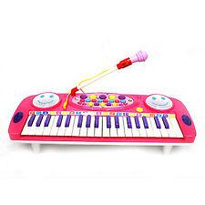 Kids Electronic 37 Key Board Musical Light Up Piano Mic Educational Instrument