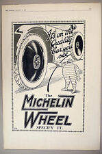"""Michelin Tire PRINT AD - 1920 ~~ Large 11"""" x 16"""" ~~ tires, wheels"""