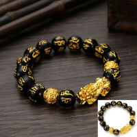 Feng Shui Black Bead Alloy Wealth Bracelet With Golden Pixiu Charms Jewelry UAC