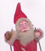 Santa Claus on Skis Christmas Decoration Papier Mache Cloth Cardboard Vintage 44
