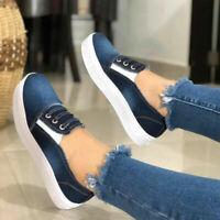 Women's Denim Loafers Pumps Ladies Summer Casual Slip On Flat Sneakers Shoes