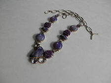 """PURPLE Charoite Amethyst & Rose Sterling Silver Necklace  20"""""""