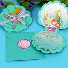 6x Mermaid Invitation Cards & Envelopes Little Mermaid Party Kids Birthday Favor