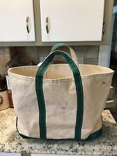 vtg Large LL Bean BOAT & TOTE  heavy canvas bag GREEN & WHITE USA 22""