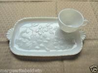 Hazel Atlas Milk Glass Opaque White Dogwood & Teardrop Snack Set Cup & Plate