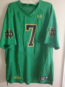 New Mens Under Armour Loose Notre Dame Fighting Irish Football Jersey #7 Green