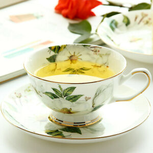 210ml Bone China Coffee Cup Saucer Set Camellia European Ceramic Flower Tea Cup
