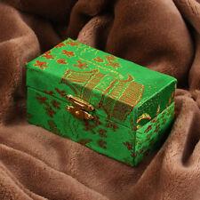 Vintage Chinese Meditation Baoding Iron Ball Oriental Design Fabric Box Green