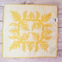 "Hawaiian NEW Yellow White Quilted Quilt Handmade 16"" Cushion Sham Pillow Cover"