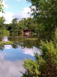 secluded scenic 2 acre carp fishing lake, log cabin short break holiday glamping