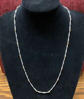 VINTAGE JEWELRY - NECKLACE - SILVER TONE DOUBLE STRAND WITH GOLD BEAD PATTERN